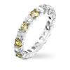 Caroline 4.1ct Yellow CZ Sterling Silver Classic Eternity Band