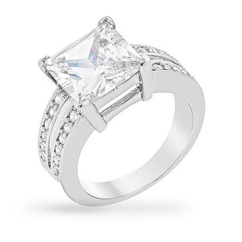 Dara 4ct CZ White Gold Rhodium Ring