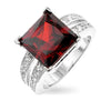 Dara 4ct Garnet CZ White Gold Rhodium Ring