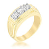 1.2ct CZ 14k Gold Triplet Men's Ring