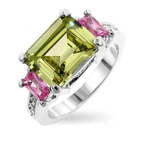 Ozzie 4.5ct Multicolor CZ Sterling Silver Statement Triplet Ring