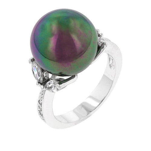 Tari 0.5ct CZ White Gold Rhodium Tahitian Pearl Ring