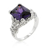 Amerie 7ct Amethyst CZ White Gold Rhodium Statement Ring