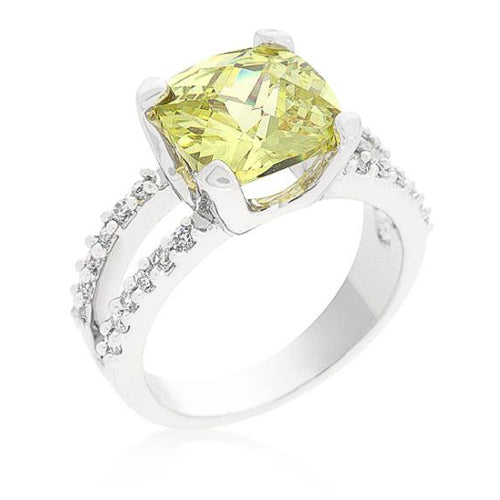 Paulina 8ct Peridot CZ White Gold Rhodium Classic Ring
