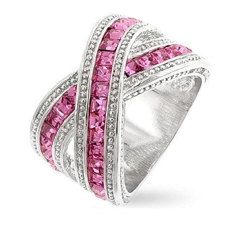 Tina 3.5ct Pink CZ White Gold Rhodium Twisted Ring