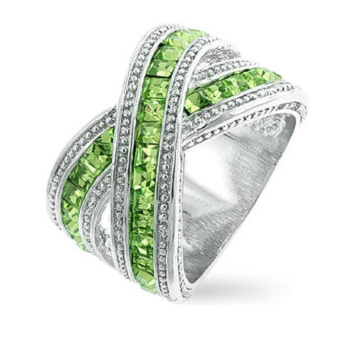 Tina 3.5ct Peridot CZ White Gold Rhodium Twisted Ring