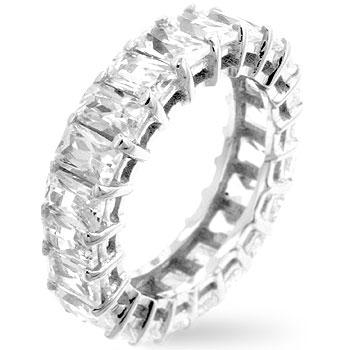 Ariana 6.2ct White Gold Radiant CZ Eternity Band