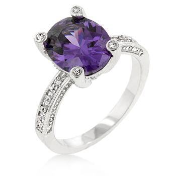 Camilla 3ct CZ Amethyst White Gold Rhodium Ring