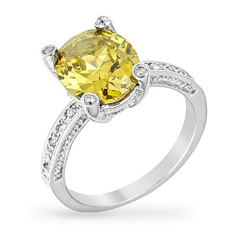 Camilla 3ct CZ Peridot White Gold Rhodium Ring
