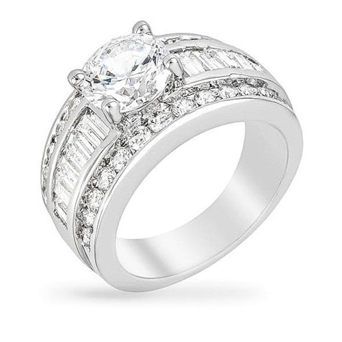 Dayna 6.6ct CZ White Gold Rhodium Ring