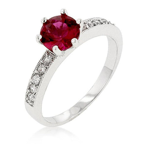 Tracy 1ct Garnet CZ White Gold Rhodium Simple Ring