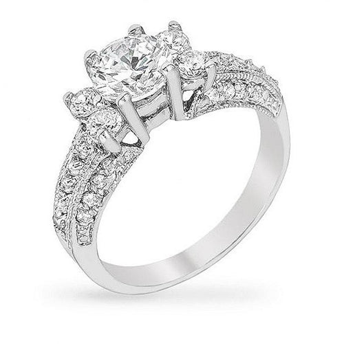 Christie 2ct CZ White Gold Rhodium Vintage-Inspired Ring