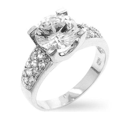 Cindy 2.3ct CZ White Gold Rhodium Engagement Ring