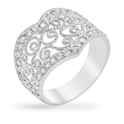Aurora 3.5ct CZ White Gold Rhodium Filigree Ring