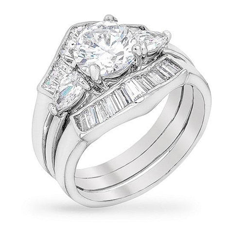 Eliza 3ct CZ White Gold Rhodium Ring Set