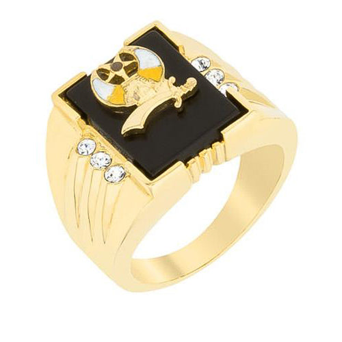 0.3ct CZ 18k Gold 3-Stone Shriners Men's Ring