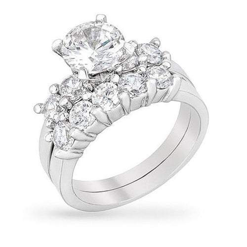 Chasity 3ct CZ White Gold Rhodium Ring Set
