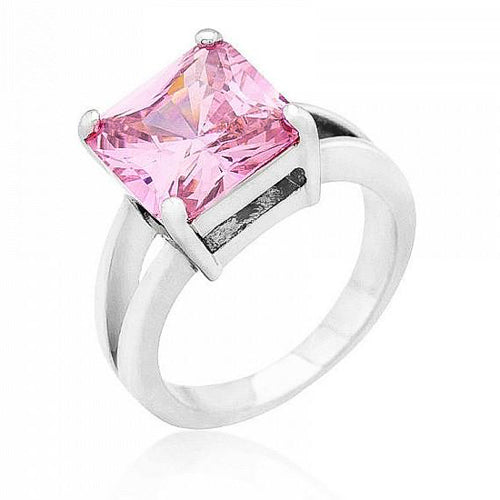 Daria 5ct Pink Ice CZ  White Gold Rhodium Ring