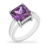 Daria 5ct Amethyst CZ White Gold Rhodium Ring