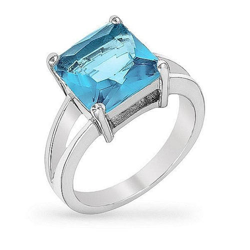 Daria 5ct Aqua CZ White Gold Rhodium Ring