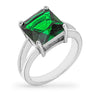 Daria 5ct Emerald CZ White Gold Rhodium Ring