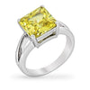 Daria 5ct Peridot CZ White Gold Rhodium Ring