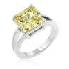 Daria 5ct Jonquil CZ White Gold Rhodium Ring