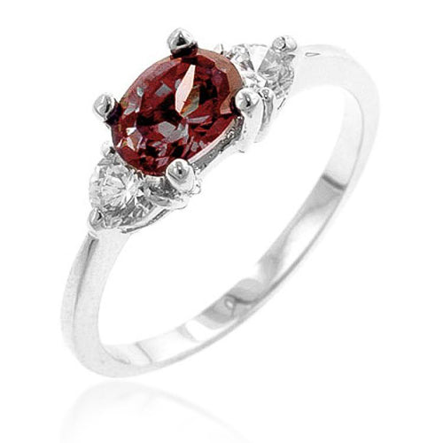 Mariah 1.5ct Pink CZ White Gold Rhodium Simple Ring