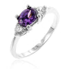 Mariah 1.5ct Amethyst CZ White Gold Rhodium Simple Ring