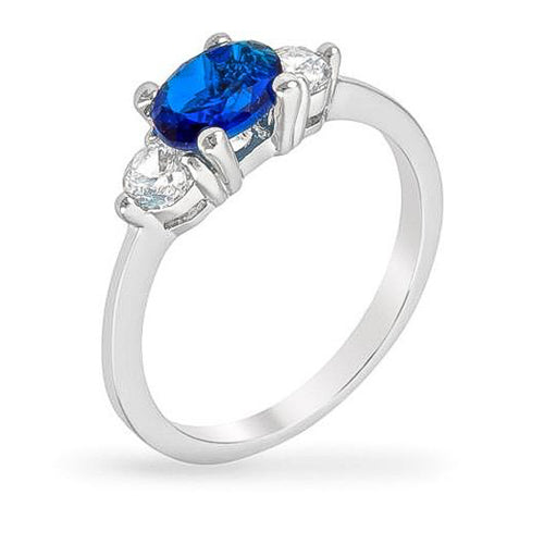 Mariah 1ct Sapphire CZ White Gold Rhodium Simple Ring