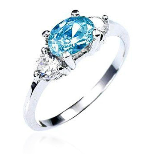 Mariah 1.5ct Aqua CZ White Gold Rhodium Simple Ring