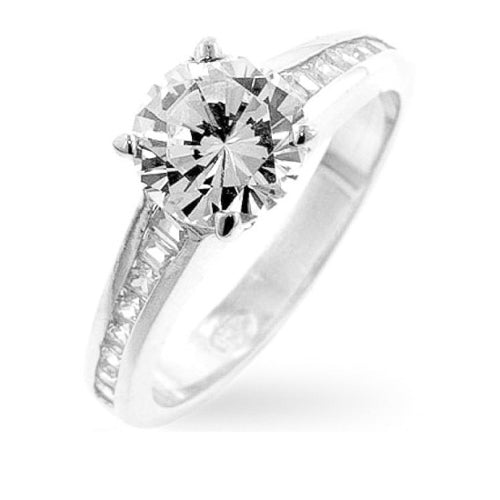 Sara 1.8ct CZ White Gold Rhodium Classic Ring