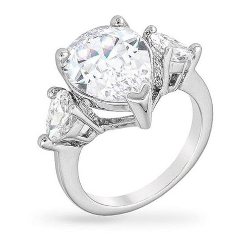 Elyse 6ct CZ White Gold Rhodium Pear Triplet Cocktail Ring