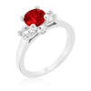 Tristan 3.2ct Ruby CZ White Gold Rhodium Ring
