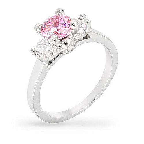 Tristan 3.2ct Pink CZ White Gold Rhodium Ring