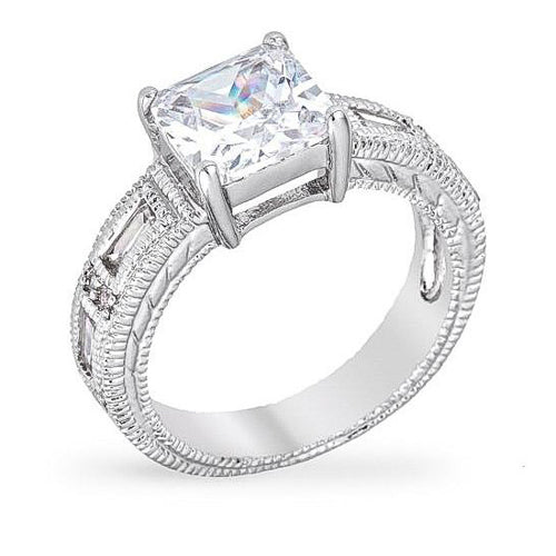 Arika 2.5ct CZ White Gold Rhodium Princess Cut Ring