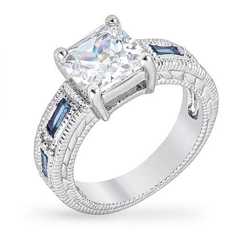 Arika 1.5ct Sapphire CZ White Gold Rhodium Princess Cut Ring