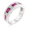 Margo 1.5ct Fuchsia CZ White Gold Rhodium Eternity Ring