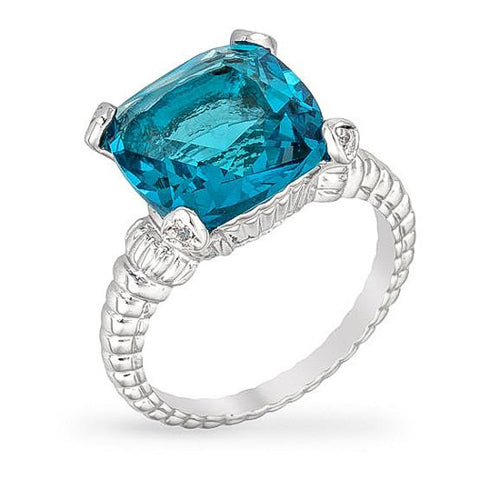 Misty 8ct Aqua CZ White Gold Rhodium Cushion Engagement Ring