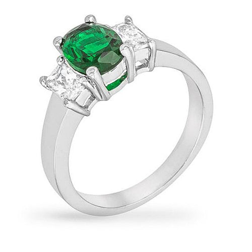 Tory 2.5ct Emerald CZ White Gold Rhodium Triple Stone Ring