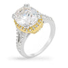 Jasmine 5.5ct CZ Two-Tone Classic Statement Ring