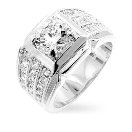 4.5ct CZ White Gold Rhodium Statement Men's Ring