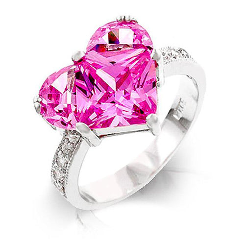 Briar 2.7ct Pink CZ White Gold Rhodium Heart Ring