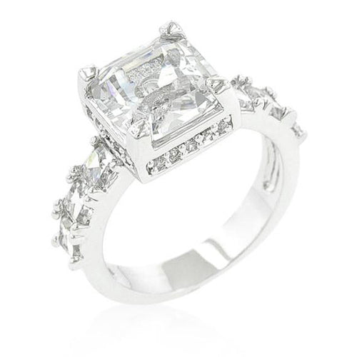 Alana 4ct CZ White Gold Rhodium Engagement Ring