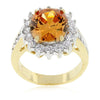 Diana 8ct Champagne CZ 14k Gold Ring