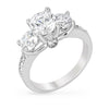 Luna 2.5ct CZ White Gold Rhodium Three Stone Ring