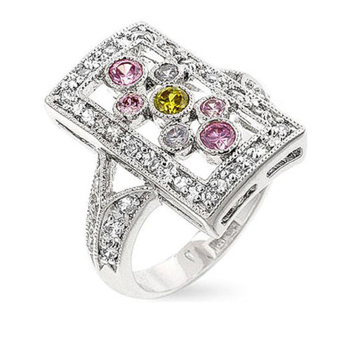 Cora Multicolored CZ White Gold Rhodium Cocktail Ring