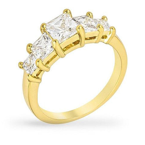 Helen 2.5ct CZ 14k Gold Five Stone Classic Ring