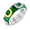 Jocelyn 1ct CZ Emerald Green Enamel White Gold Rhodium Horse Shoe Band