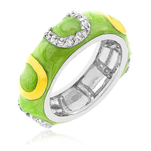 Jocelyn 1ct CZ Apple Green Enamel White Gold Rhodium Horse Shoe Band